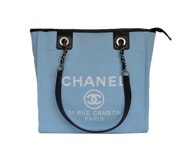 Replica Chanel Small Canvas Tote Shopping Bag A66940 Blue On Sale