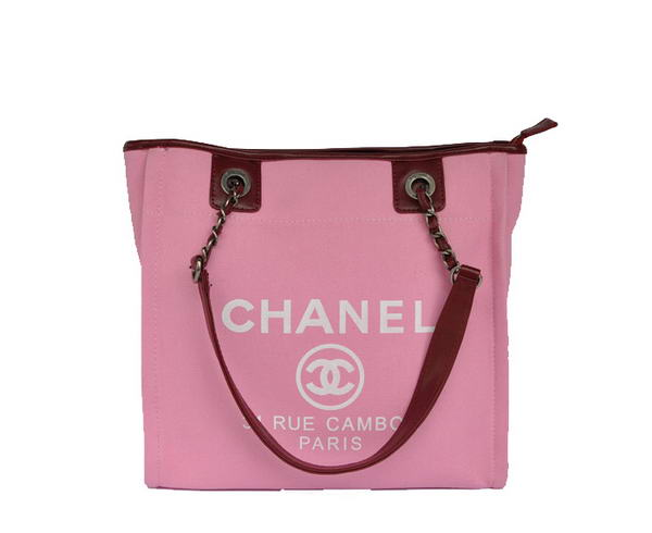 Replica Chanel Small Canvas Tote Shopping Bag A66940 Peach On Sale