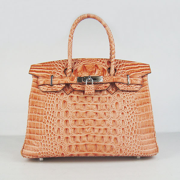 Replica Hermes Birkin 30CM Crocodile Head Veins Bag Orange 6088 On Sale