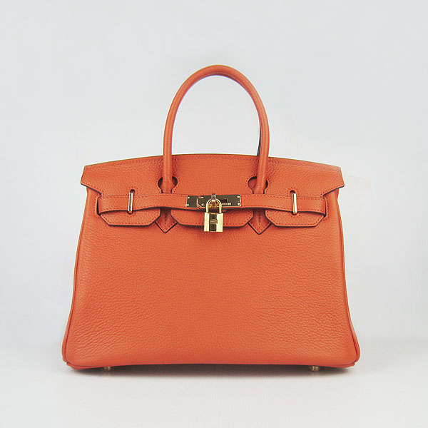 Replica Hermes Birkin 30CM Togo Leather Bag Orange 6088 On Sale