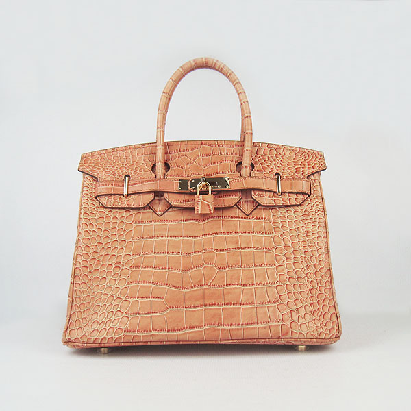 Replica Hermes Birkin 30CM Crocodile Veins Bag Orange 6088 On Sale