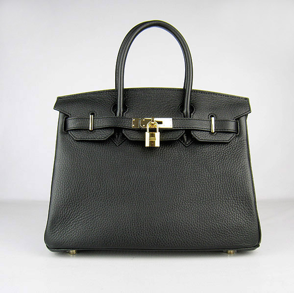Replica Hermes Birkin 30CM Togo Leather Bag Black 6088 On Sale