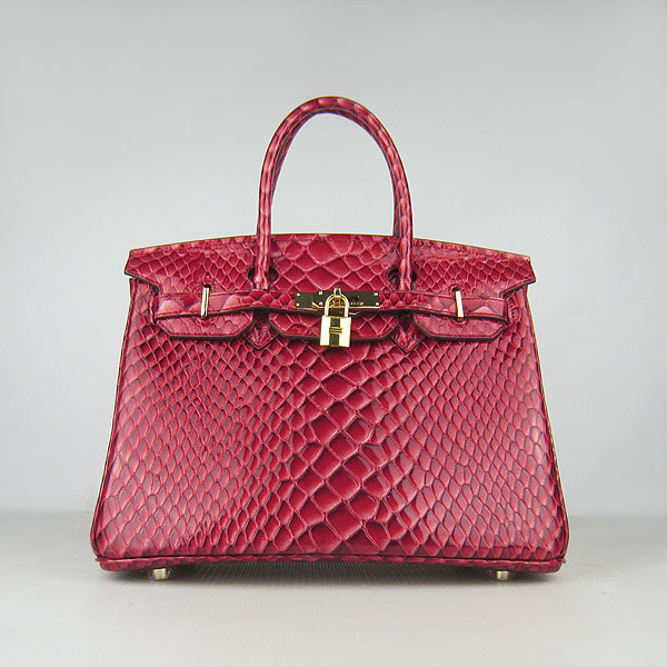 Replica Hermes Birkin 30CM Fish Veins Leather Bag Dark Red 6088 On Sale