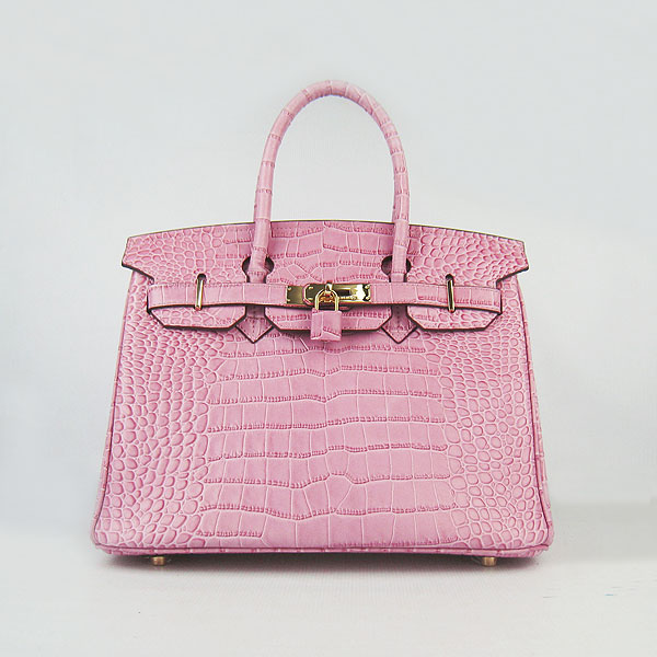 Replica Hermes Birkin 30CM Crocodile Veins Bag Pink 6088 On Sale
