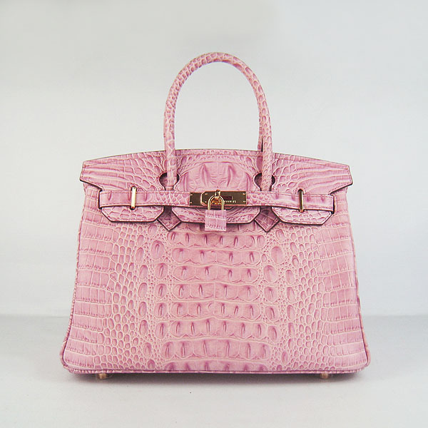 Replica Hermes Birkin 30CM Crocodile Head Veins Bag Pink 6088 On Sale