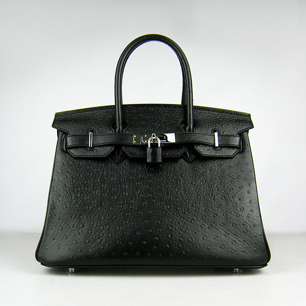 Replica Hermes Birkin 30CM Ostrich Veins Handbag Black 6088 On Sale