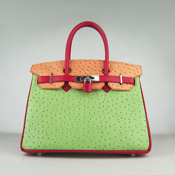 Replica Hermes Birkin 30CM Ostrich Veins Handbag Red/Orange/Green 6088 On Sale