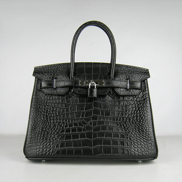 Replica Hermes Birkin 30cm Crocodile Veins Bag Black 6088 On Sale