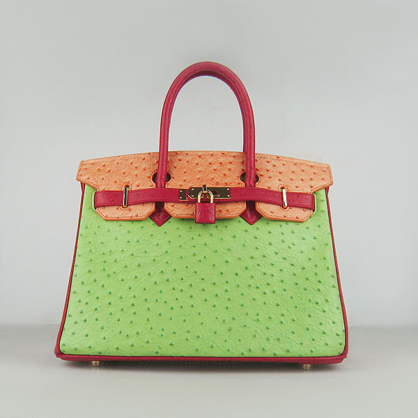 Replica Hermes Birkin 30CM Ostrich Veins Leather Bag Red/Orange/Green 6088 On Sale