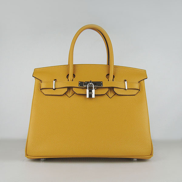 Replica Hermes Birkin 30CM Togo Leather Bag Yellow 6088 On Sale