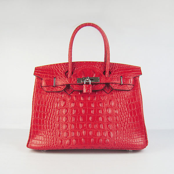Replica Hermes Birkin 30CM Crocodile Head Veins Bag Red 6088 On Sale