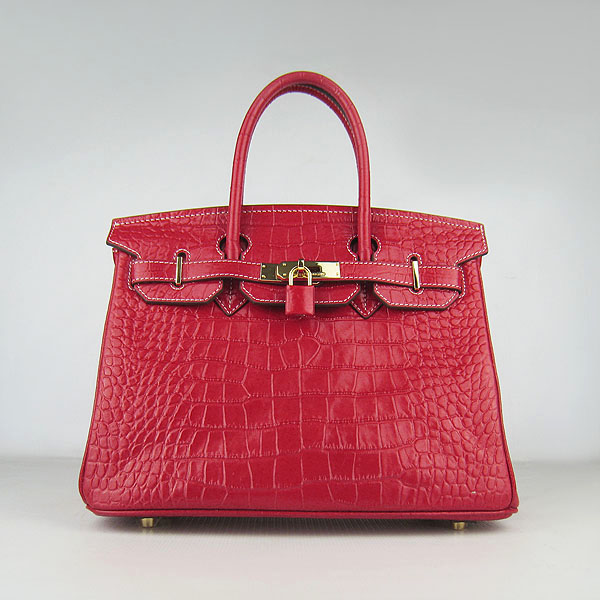 Replica Hermes Birkin 30cm Crocodile Veins Bag Red 6088 On Sale