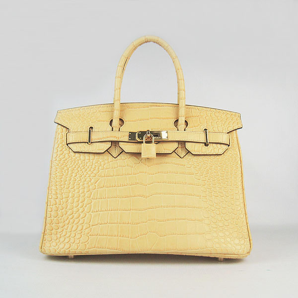 Replica Hermes Birkin 30CM Crocodile Veins Bag Yellow 6088 On Sale