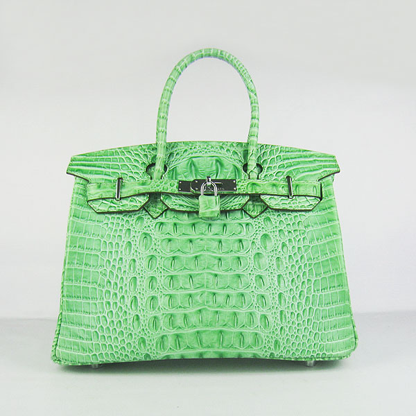 Replica Hermes Birkin 30CM Crocodile Head Veins Bag Green 6088 On Sale