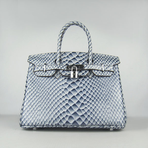 Replica Hermes Birkin 30CM Fish Veins Leather Bag Blue 6088 On Sale
