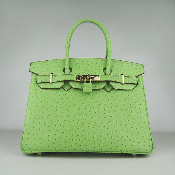 Replica Hermes Birkin 30CM Ostrich Veins Handbag Green 6088 On Sale