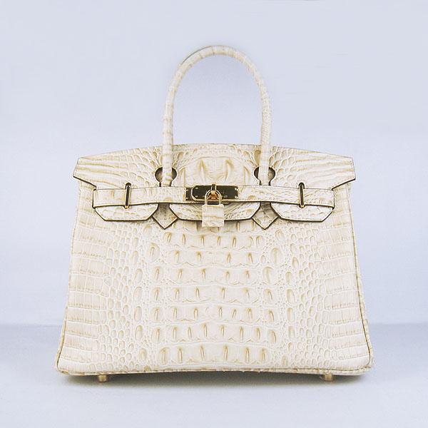 Replica Hermes Birkin 30CM Crocodile Head Veins Bag Cream 6088 On Sale