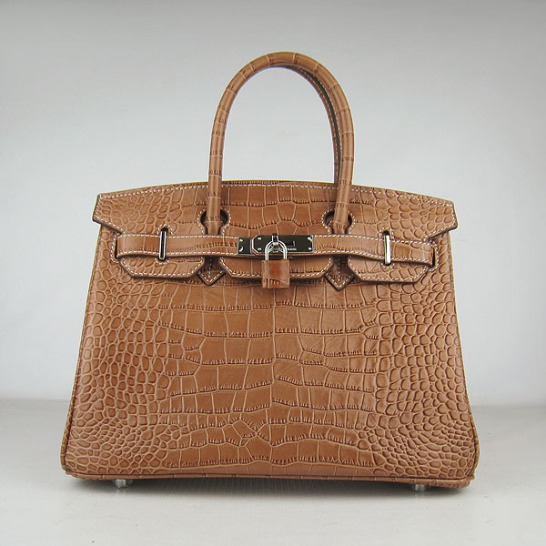 Replica Hermes Birkin 35cm Crocodile Veins Bag Light Coffee 6088 On Sale