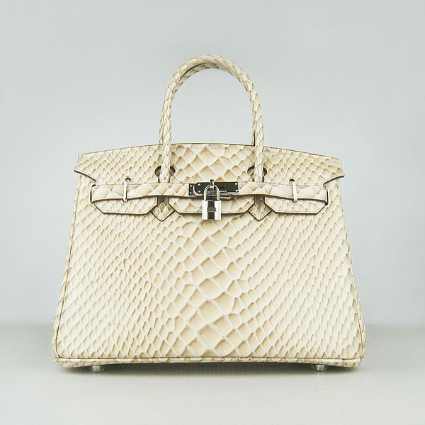 Replica Hermes Birkin 30CM Fish Veins Leather Bag Beige 6088 On Sale