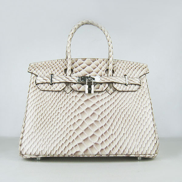 Replica Hermes Birkin 30CM Fish Veins Leather Bag Cream 6088 On Sale