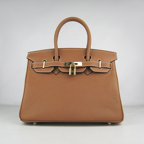 Replica Hermes Birkin 30CM Togo Leather Bag Light Coffee 6088 On Sale