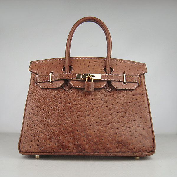 Replica Hermes Birkin 30CM Ostrich Veins Handbag Light Coffee 6088 On Sale