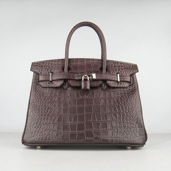 Replica Hermes Birkin 30cm Crocodile Veins Bag Dark Coffee 6088 On Sale