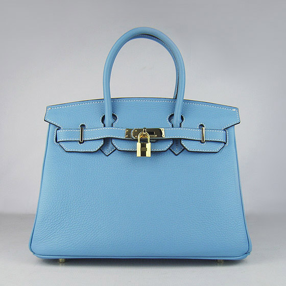 Replica Hermes Birkin 30CM Togo Leather Bag Light Blue 6088 On Sale