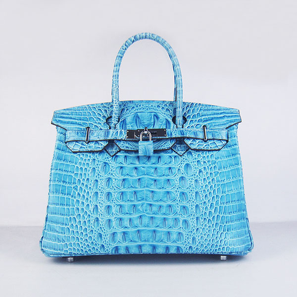 Replica Hermes Birkin 30CM Crocodile Head Veins Bag Light Blue 6088 On Sale