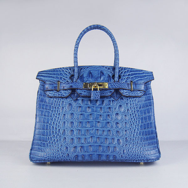 Replica Hermes Birkin 30CM Crocodile Head Veins Bag Dark Blue 6088 On Sale