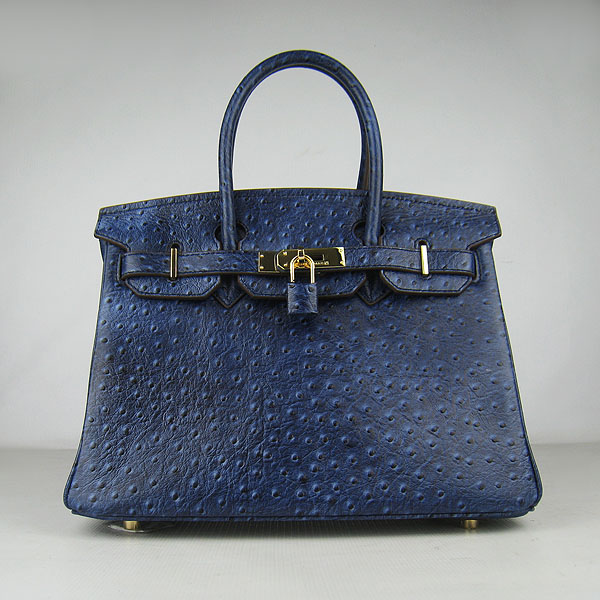 Replica Hermes Birkin 30CM Ostrich Veins Handbag Dark Blue 6088 On Sale