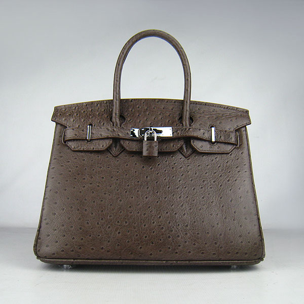 Replica Hermes Birkin 30CM Ostrich Veins Handbag Dark Coffee 6088 On Sale