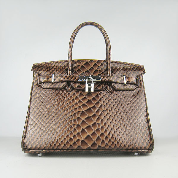 Replica Hermes Birkin 30CM Fish Veins Leather Bag Dark Coffee 6088 On Sale