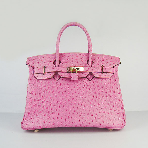 Replica Hermes Birkin 30CM Ostrich Veins Handbag Pink 6088 On Sale