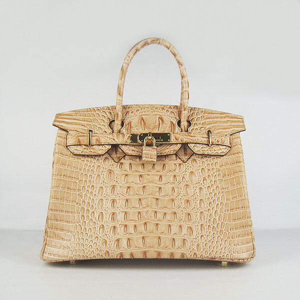 Replica Hermes Birkin 30CM Crocodile Head Veins Bag Earth Yellow 6088 On Sale