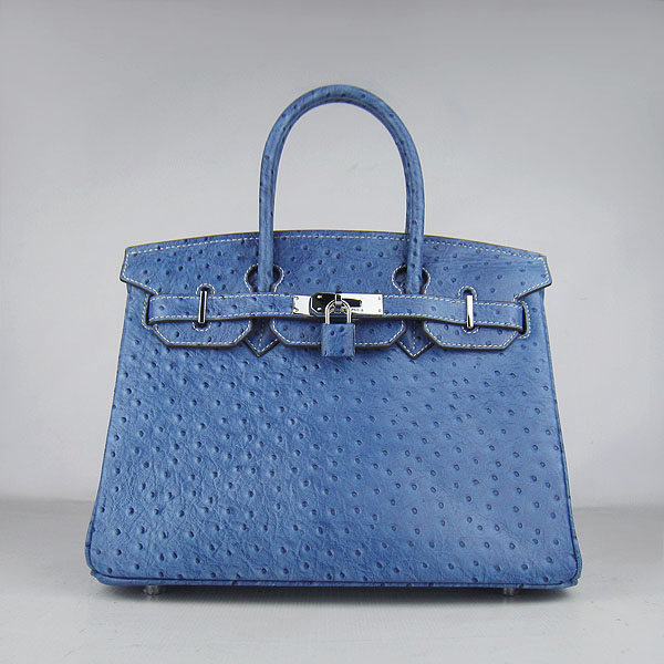 Replica Hermes Birkin 30CM Ostrich Veins Handbag Blue 6088 On Sale