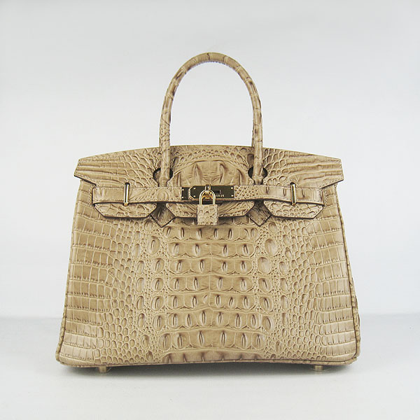 Replica Hermes Birkin 30CM Crocodile Head Veins Bag Apricot 6088 On Sale