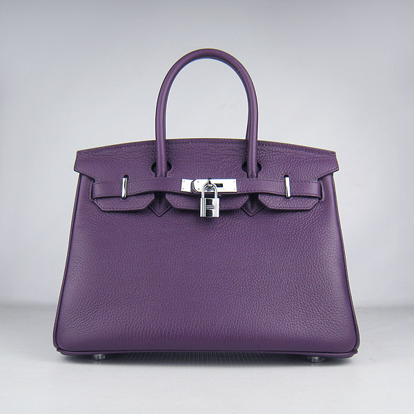 Replica Hermes Birkin 30CM Togo Leather Bag Purple 6088 On Sale