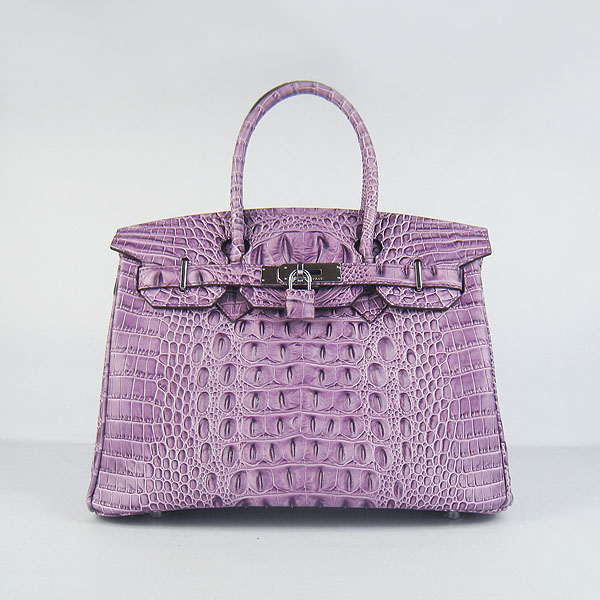 Replica Hermes Birkin 30CM Crocodile Head Veins Bag Purple 6088 On Sale