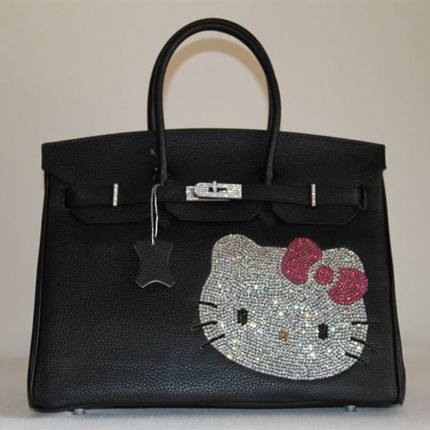 High Quality Fake Hermes Birkin Hello Kitty 35CM Togo Leather Bag Black HK0001 (8)