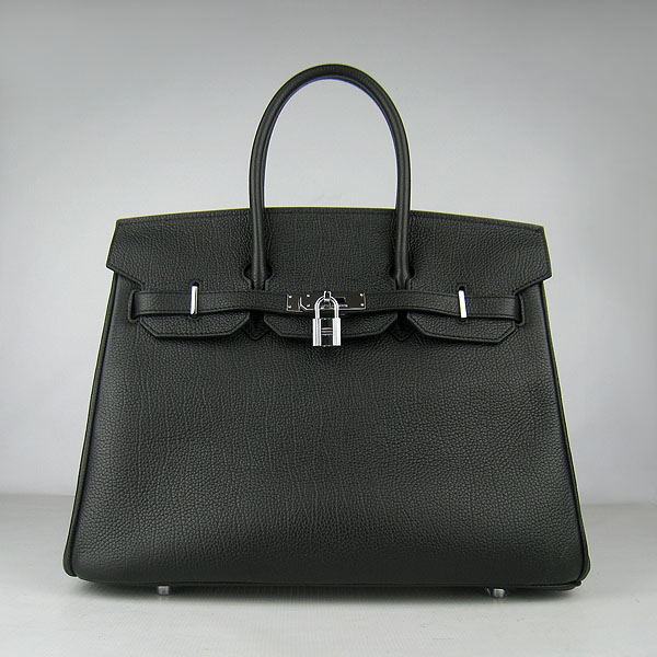 High Quality Fake Hermes Birkin 35CM Togo Leather Bag Black 6089