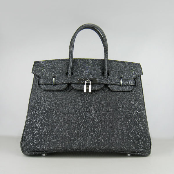 High Quality Fake Hermes Birkin 35CM Pearl Veins Leather Bag Black 6089