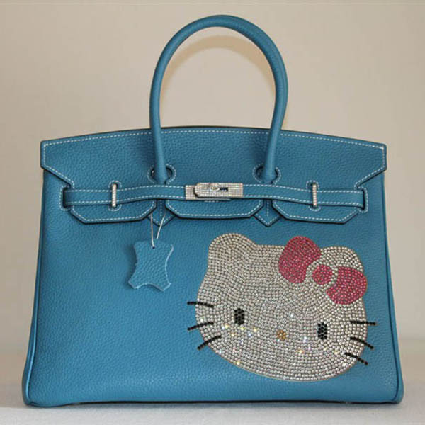 High Quality Fake Hermes Birkin Hello Kitty 35CM Togo Leather Bag Blue HK0001 (3)