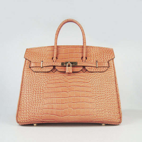 High Quality Fake Hermes Birkin 35CM Crocodile Veins Leather Bag Orange 6089