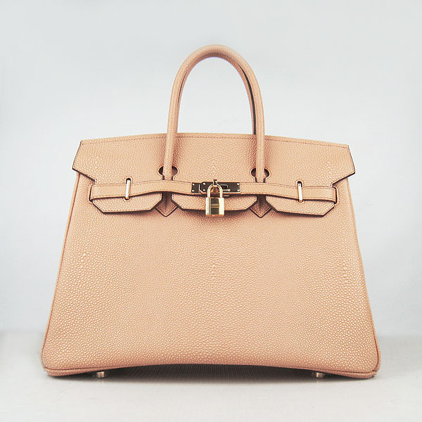 High Quality Fake Hermes Birkin 35CM Pearl Veins Leather Bag Orange 6089