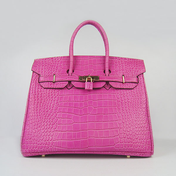 High Quality Fake Hermes Birkin 35CM Crocodile Veins Leather Bag Peach 6089
