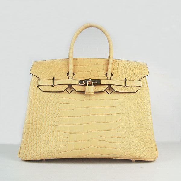 High Quality Fake Hermes Birkin 35CM Crocodile Veins Leather Bag Yellow 6089