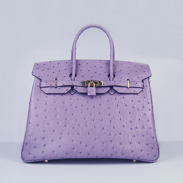 High Quality Fake Hermes Birkin 35CM Ostrich Veins Handbag Purple 6089