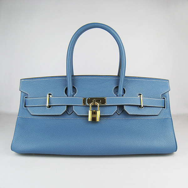 Cheap Hermes Birkin 42cm Replica Togo Leather Bag Blue 62642
