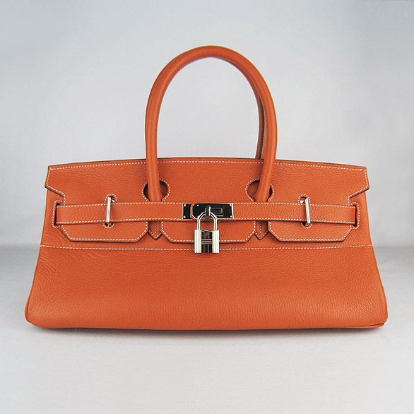 Cheap Hermes Birkin 42cm Replica Togo Leather Bag Orange 6109